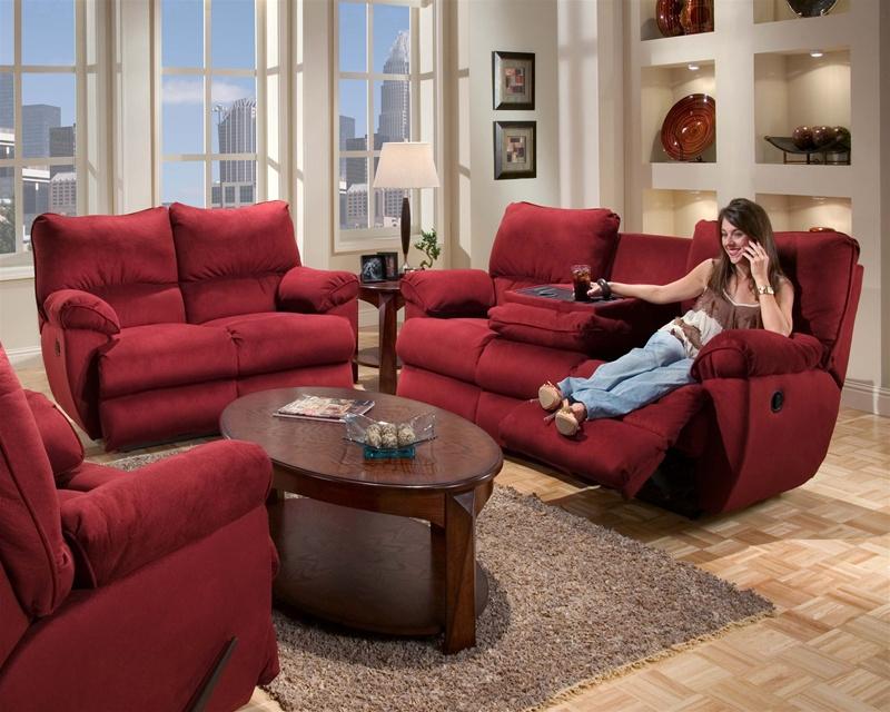 Legend 2 Piece Merlot Fabric Sofa Set by Catnapper - Manual Recline