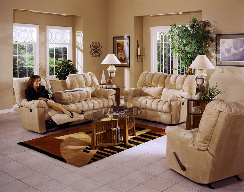 Cuddler 3 Piece Saddle Suede Cloth Sectional By Catner Manual Recline Cat 3375 Sdl Sec