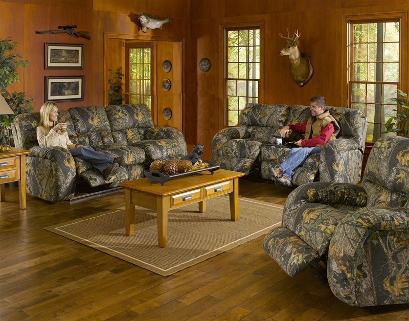 Lodge 2 piece manual recline sofa set in camouflage cover for Camouflage living room ideas