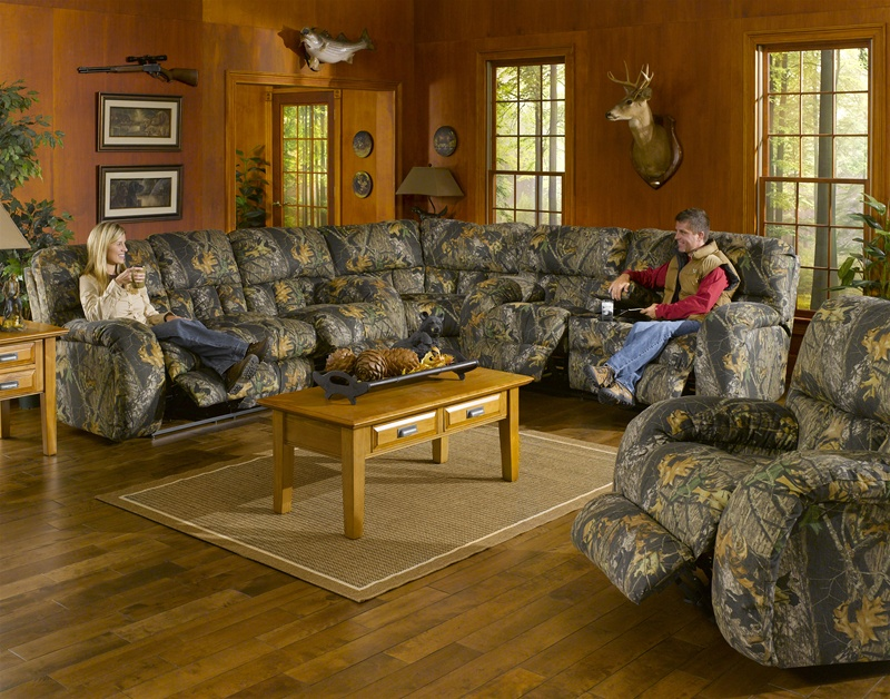 Lodge 3 Piece Manual Recline Sectional In Camouflage Cover