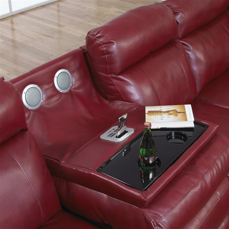 Chastain 2 Piece Red Leather Storage Entertainment Reclining Sectional By Catner 4013 R