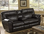 Nolan Leather Reclining Console Loveseat by Catnapper - 4049