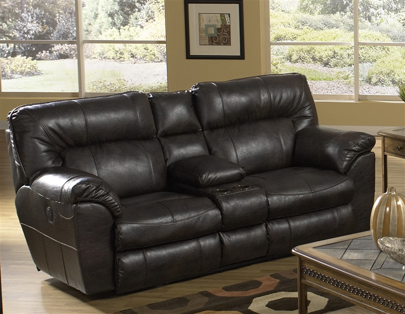 Nolan Leather Reclining Console Loveseat By Catnapper   4049