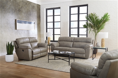 Costa 2 Piece Lay Flat Reclining Sofa Set in Putty Color Leather by Catnapper - 407-SET-P