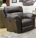 Costa Lay Flat Recliner in Chocolate Color Leather by Catnapper - 4070-7-CH