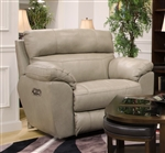 Costa Lay Flat Recliner in Putty Color Leather by Catnapper - 4070-7-P
