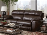 Costa Lay Flat Reclining Sofa in Chocolate Color Leather by Catnapper - 4071-CH
