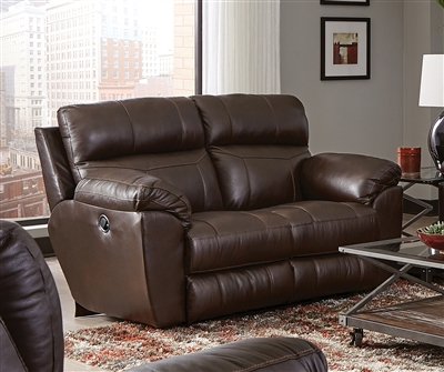 Costa Lay Flat Reclining Loveseat in Chocolate Color Leather by Catnapper - 4072-CH
