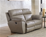 Costa Lay Flat Reclining Loveseat in Putty Color Leather by Catnapper - 4072-P