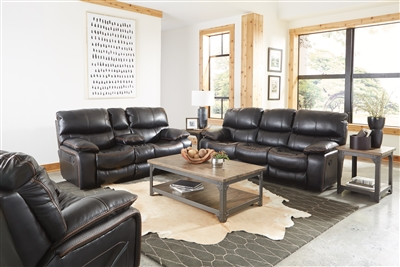 Camden 2 Piece Reclining Sofa Set in Black Color Leather Like Fabric by Catnapper - 408-SET-BLK