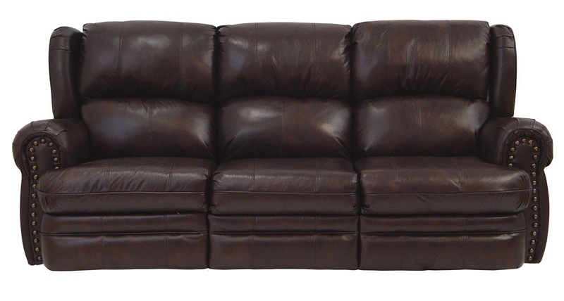 Buckingham Chocolate Leather Dual Reclining Sofa By
