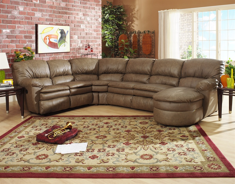Manhattan 3 Piece Chaise Sectional In Smoke Color Leather By Catnapper    4124