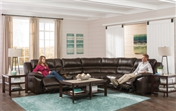 Bergamo 6 Piece Reclining Sectional in Chocolate Leather by Catnapper - 418-6