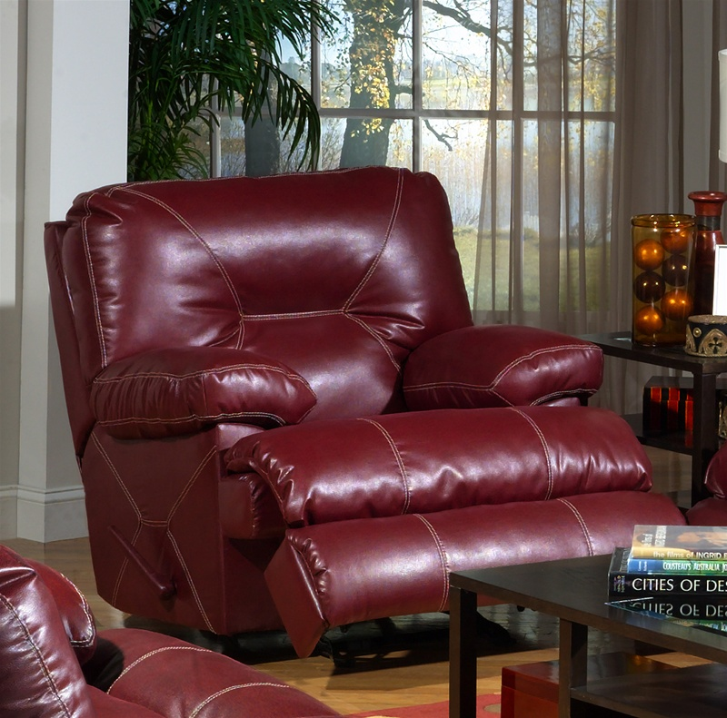 Cortez Dual Reclining Sofa in Dark Red Leather by Catnapper - 4291-R