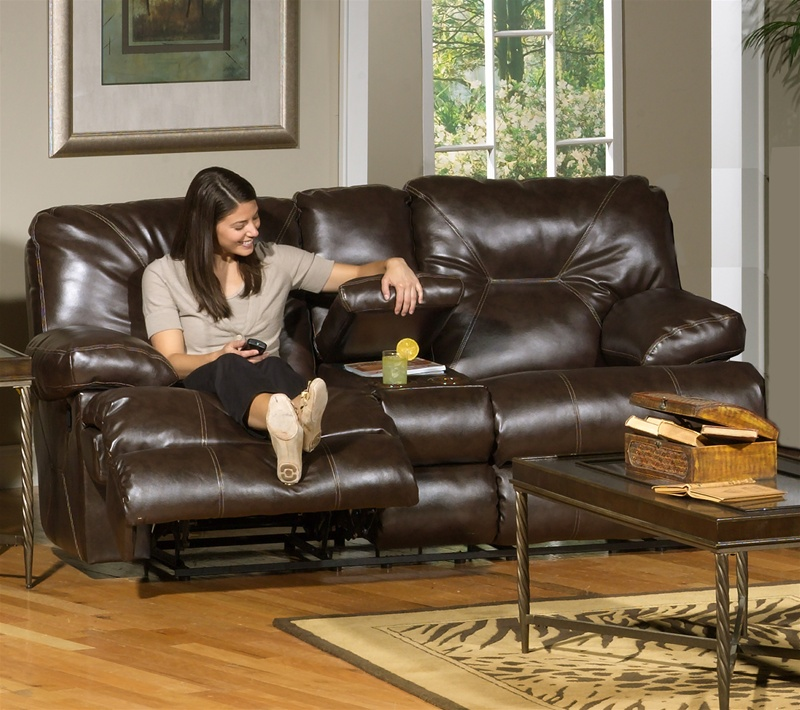 Cortez 2 Piece Dual Reclining Sofa Set In Dark Brown Leather By Catnapper    4291 S