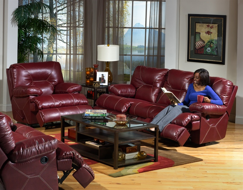 Cortez 2 Piece Dual Reclining Sofa Set in Dark Red Leather by Catnapper -  4291-S-R
