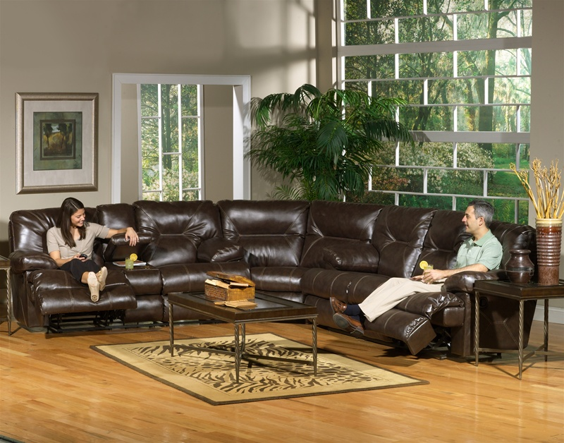 Cortez 3 Piece Dual Reclining Sofa Sectional In Dark Brown Leather By  Catnapper   4291 SEC