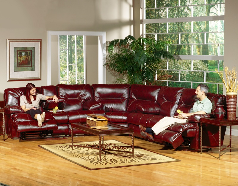 Cortez 3 Piece Dual Reclining Sofa Sectional in Dark Red Leather by  Catnapper - 4291-SEC-R