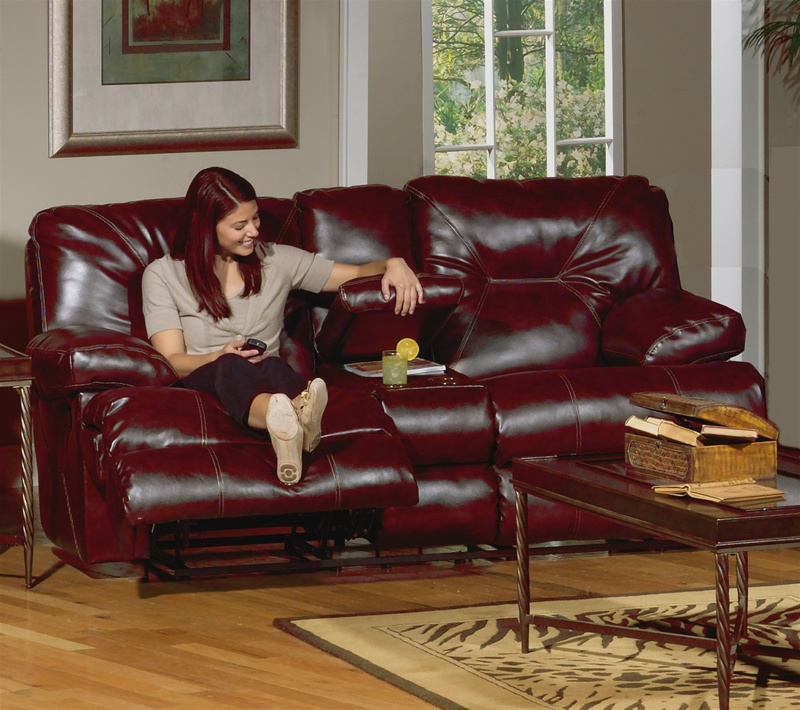 Cortez Reclining Console Love Seat with Storage and Cupholders in Dark Red  Leather by Catnapper - 4299-R