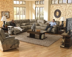 Voyager POWER Lay Flat 3 Piece Sectional in Brandy Fabric by Catnapper - 438-PSEC