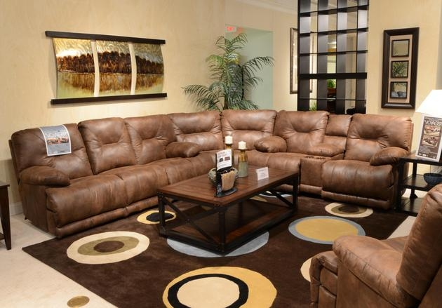 Voyager Lay Flat Reclining Sofa With Drop Down Table In Brandy Fabric By  Catnapper   43845
