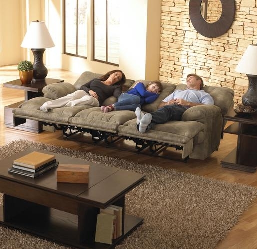Voyager Lay Flat Reclining Sofa With Drop Down Table In Brandy