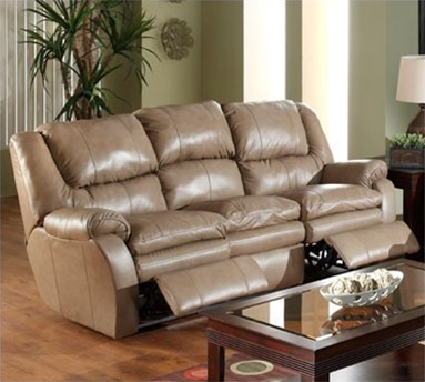 Allegro Dual Reclining Sofa In Mushroom Color Leather By