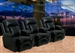 Geneva Theater Seating - 3 Black Leather Chairs By Catnapper - Electric Recline