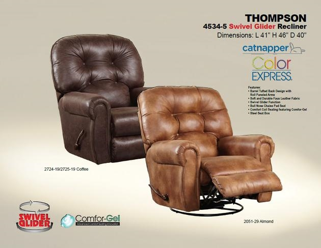 thompson swivel glider recliner in coffee leather like fabric by catnapper 45345c