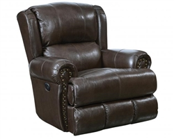 Duncan Deluxe Glider Recliner in Chocolate Leather by Catnapper - 4763-6-CH