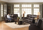 Arlington 2 Piece Reclining Sofa, Loveseat Set in Mahogany Leather by Catnapper - 477-2