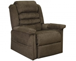 "Invincible ""Pow'r Lift"" Full Lay-Out Chaise Recliner in Cocoa Bleach Cleanable Vinyl by Catnapper - 4832-C"
