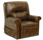 "Vintage ""Pow'r Lift"" Full Lay-Out Chaise Recliner in Tobacco Leather by Catnapper - 4843-T"