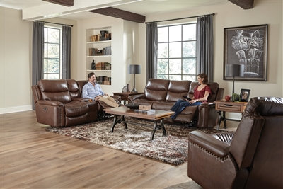 Ceretti 2 Piece Power Reclining Set in Brown Leather by Catnapper - 488-SET