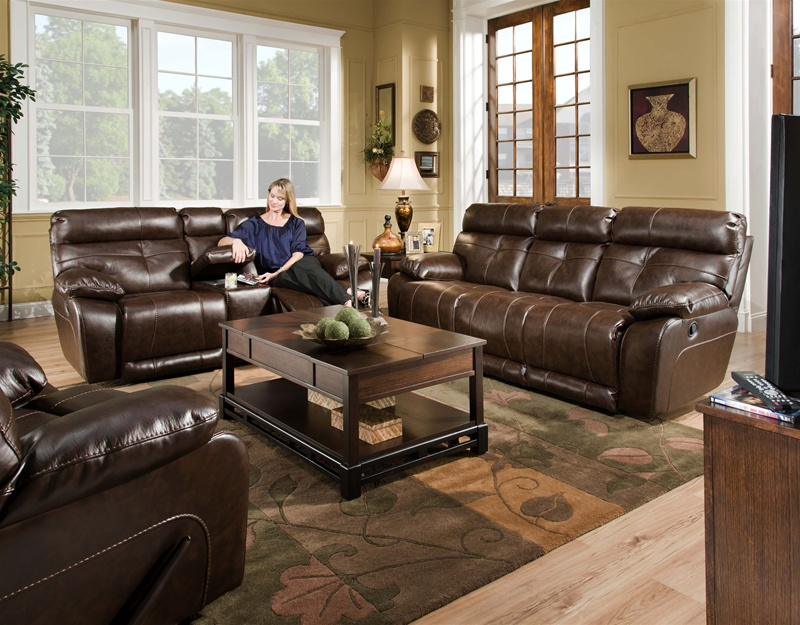 Attrayant Seville Java Leather 2 Piece Reclining Sofa, Reclining Console Loveseat Set  By Catnapper   490 2