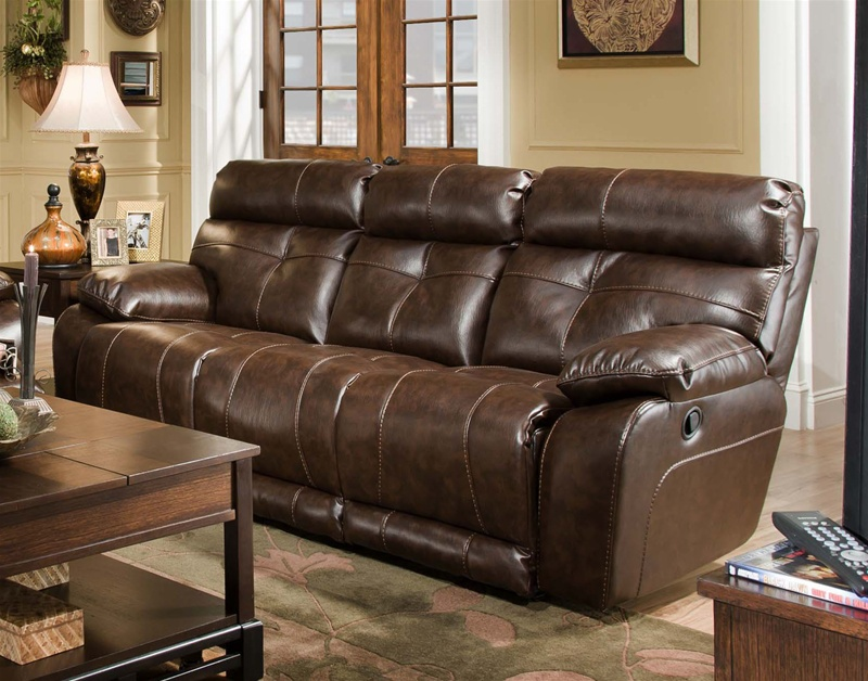 Superior Seville Java Leather Reclining Sofa By Catnapper   4901