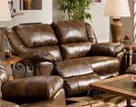 Transformer Toast Leather Rocking Reclining Loveseat by Catnapper - 4942-2
