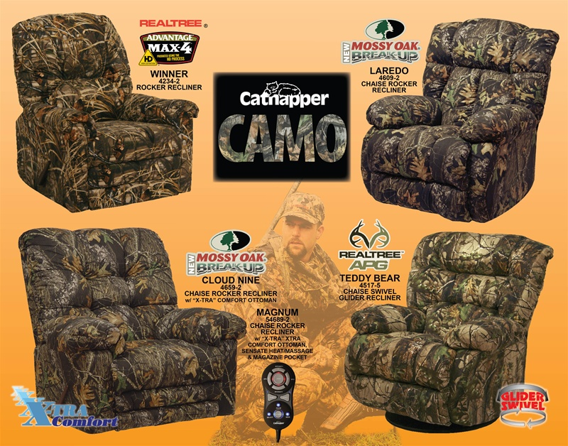 Magnum Heat/Massage Mossy Oak Camouflage Chaise Rocker Recliner By  Catnapper   54689 2 CAMO