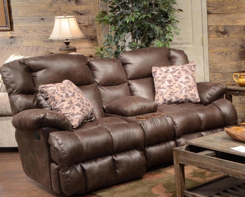 Duck Dynasty Cedar Creek 2 Piece POWER Reclining Set In Sable Leather With  Duck Camo Fabric Pillows By Catnapper   6132 S