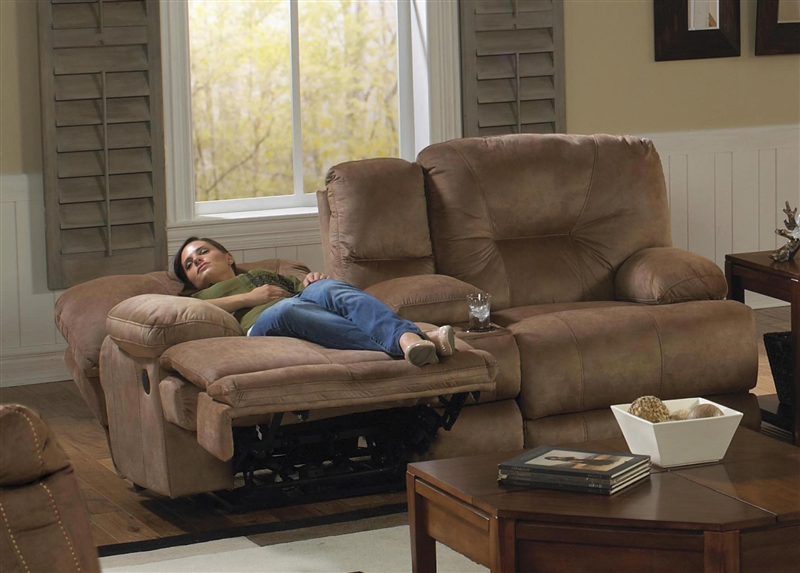 Noble POWER Lay Flat Reclining Console Loveseat in Almond Fabric ...
