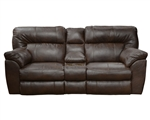 Larkin Power Lay Flat Reclining Console Loveseat in Chestnut, Godiva, or Putty Leather by Catnapper - 613999