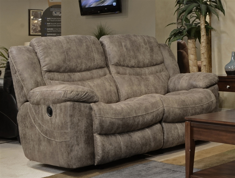 valiant power reclining loveseat in coffee marble or elk fabric by catnapper