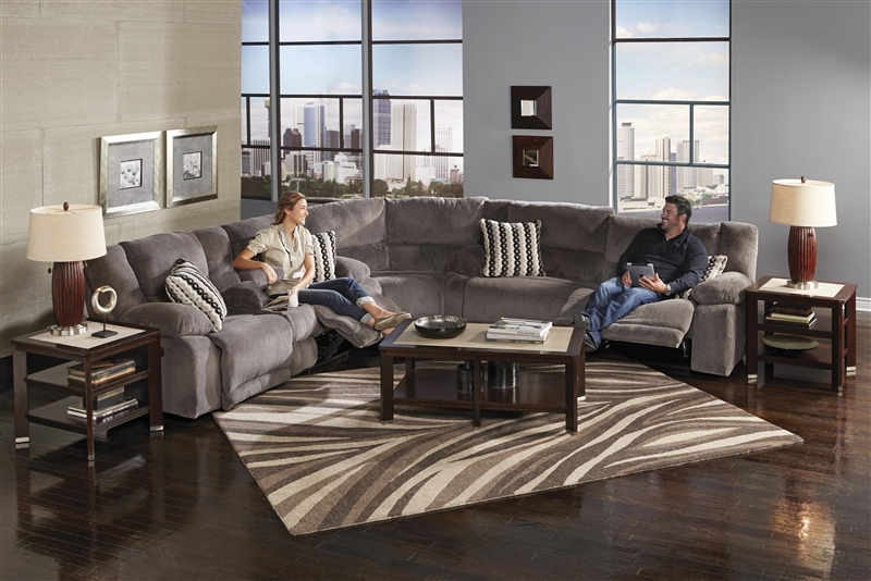 Hammond 3 Piece POWER Reclining Sectional in Mocha Coffee or Granite Fabric by Catnapper - 61441-SEC : reclining sectional - Sectionals, Sofas & Couches