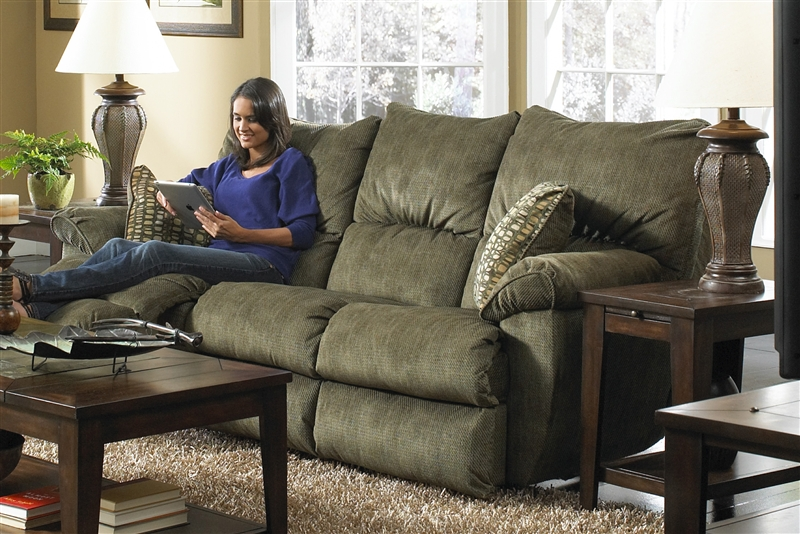 Gavin Reclining Sofa With Drop Down Table In Foliage Color Fabric By Catner 61455