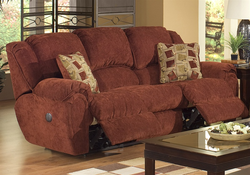 Exceptional Conrad Power Reclining Sofa In Chianti Color Chenille Fabric By Catnapper    6151