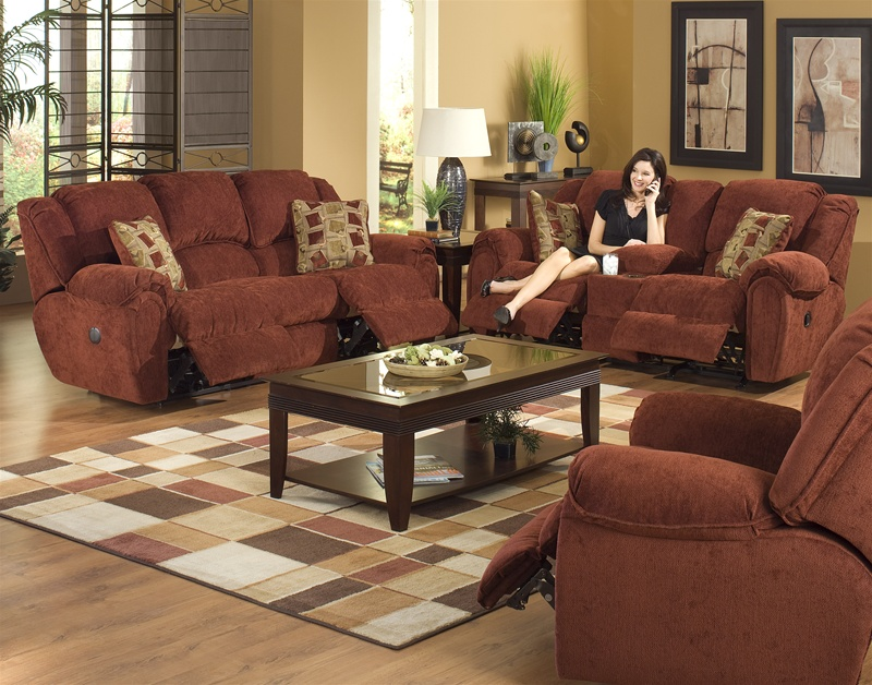 Conrad 2 Piece Power Reclining Sofa Set In Chianti Color
