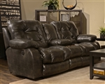 Watson POWER Reclining Console Loveseat in Coal, Almond, or Burgundy Fabric by Catnapper - 61529