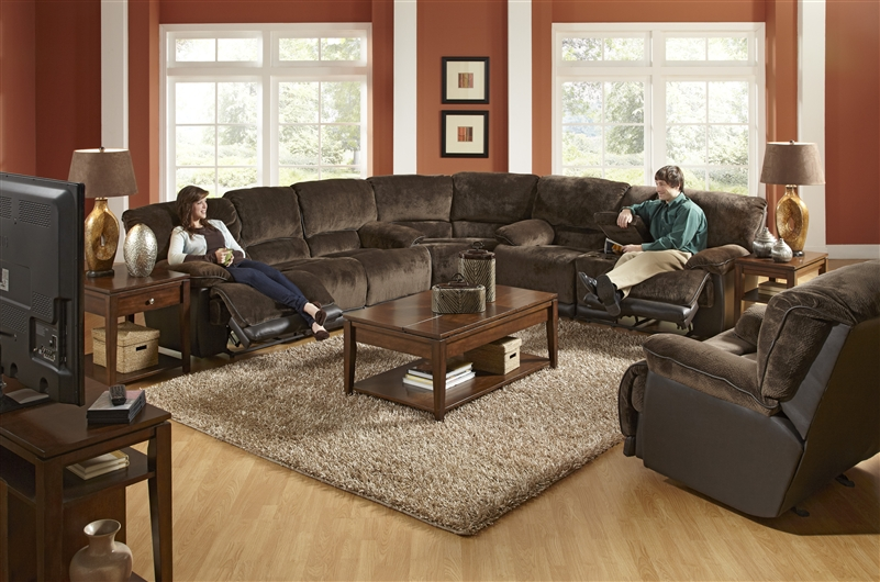 Escalade 3 Piece Power Reclining Sectional In Chocolate