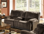 Escalade POWER Reclining Console Loveseat in Chocolate/Walnut Two Tone Fabric by Catnapper - 61719