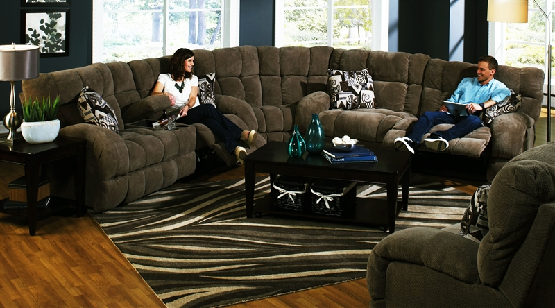 Siesta 3 Piece POWER Lay Flat Reclining Sectional in  Chocolate  Color Fabric by Catnapper - 61761-SEC & Siesta 3 Piece POWER Lay Flat Reclining Sectional in